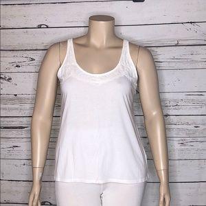Elle NWT XL White Floral Lace Trim Knit Tank Top